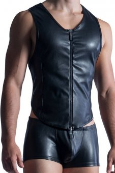 Leather Like Fetish Zipped Vest