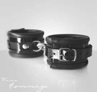 Faire Hommage Leather Leg Cuffs Double