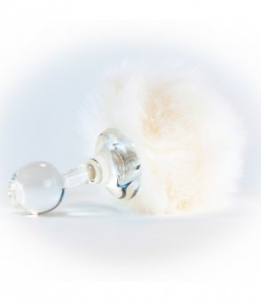 White Faux Bunny Tail Plug with Detachable Magnetic Base