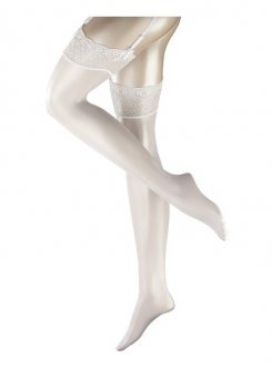 Bridal Lace Trim White Stockings