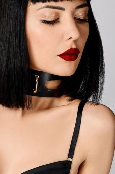 Leather Artefact Cut Out Choker