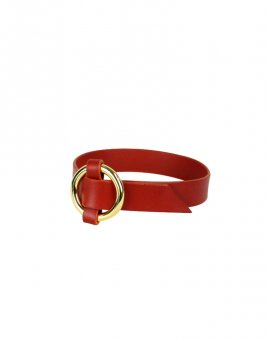 Leather Artefect Red Woven O-Ring Choker
